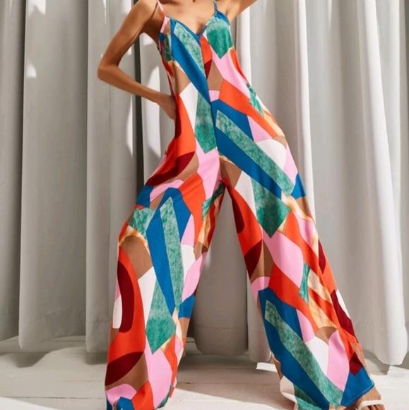 Shein Wide Leg Multi Color Jumpsuit